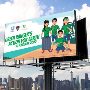"""Spanduk Unilever """"Go Green Ranger"""""""